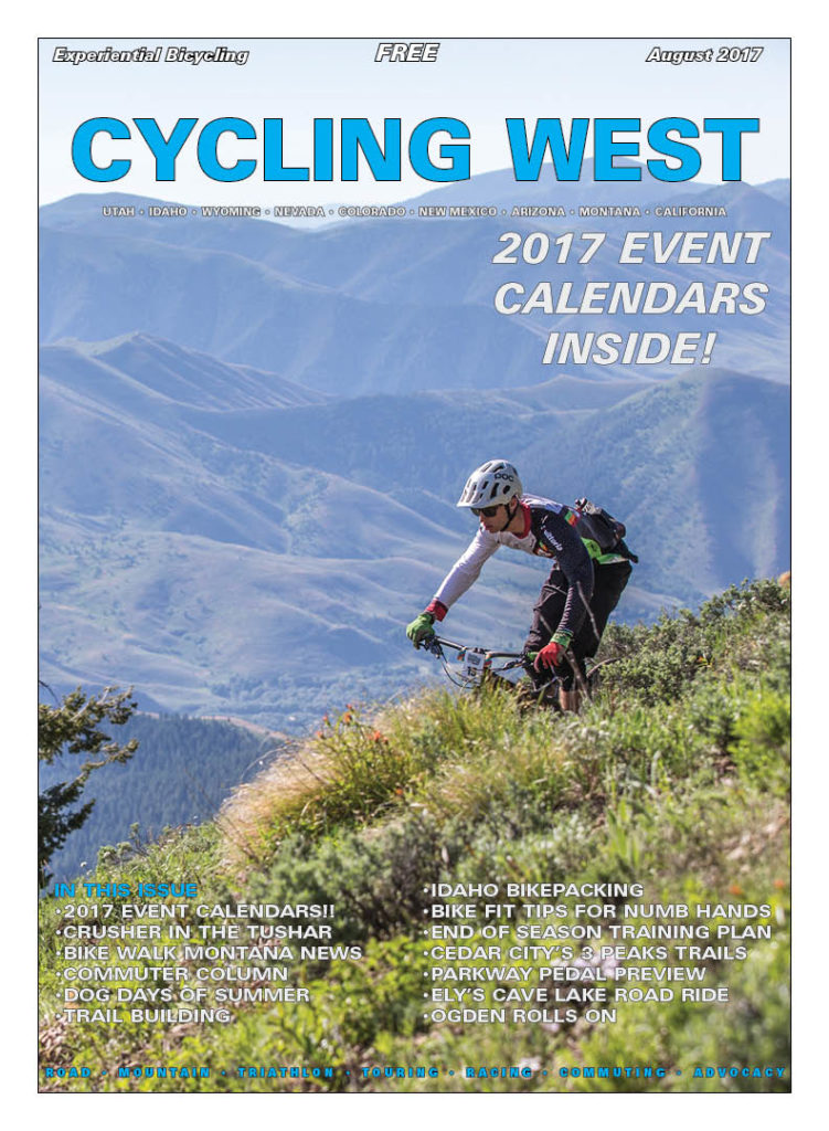 Cycling West August 2017 Cover Photo: Danny Fendler on course in the 2017 Sun Valley SCOTT Enduro Cup on July 1, 2017. Photo by Jay Dash/SCOTT Enduro Cup