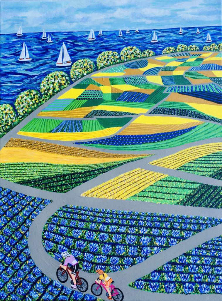 """Artist: Mindy Larson, Title: """"Coastal Cruz"""", Medium: Acrylic on Canvas, Size: 18x24"""