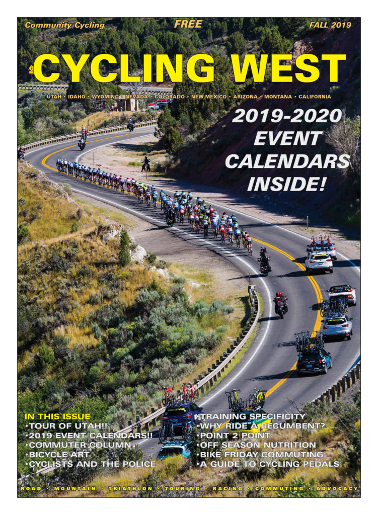 Cycling West and Cycling Utah Fall 2019 Issue Cover Photo: The peloton rides past Rockport Reservoir during Stage 5 of the 2019 Tour of Utah. Photo by Jason Porter