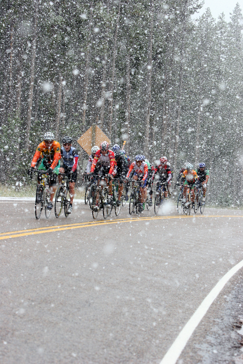 The 2005 LOTOJA was filled with snow, rain, and cold cyclists. Photo by Joaquim Hailer