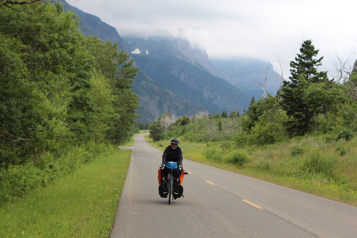 Lou on a cool morning exiting Glacier National Park.