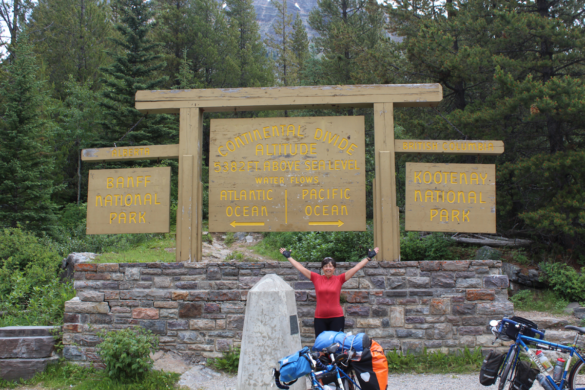 Julie at the 2nd of 3 crossings of the Continental Divide on this trip.