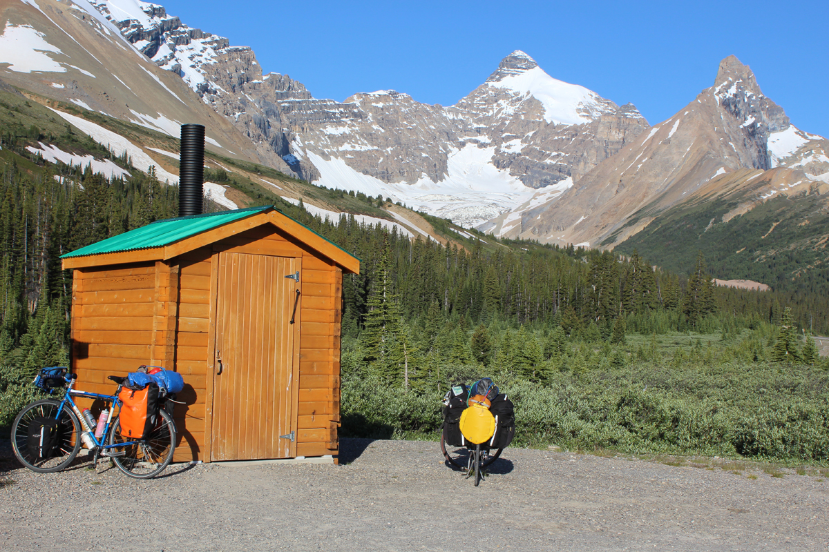 One of the most scenic outhouses in North America (base of Sunwapta Pass, Banff National Park, Canada).