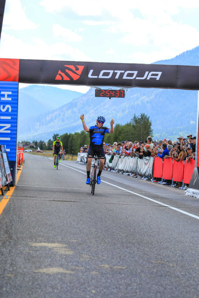 Roger Arnell (Johnson Elite Orthodontics) celebrates after winning the Men's Pro 123 race in the 37th Annual LoToJa Classic held on September 7, 2019. Arnell finished the 202-mile course in 8:45:51. Photo courtesy of Snake River Photo