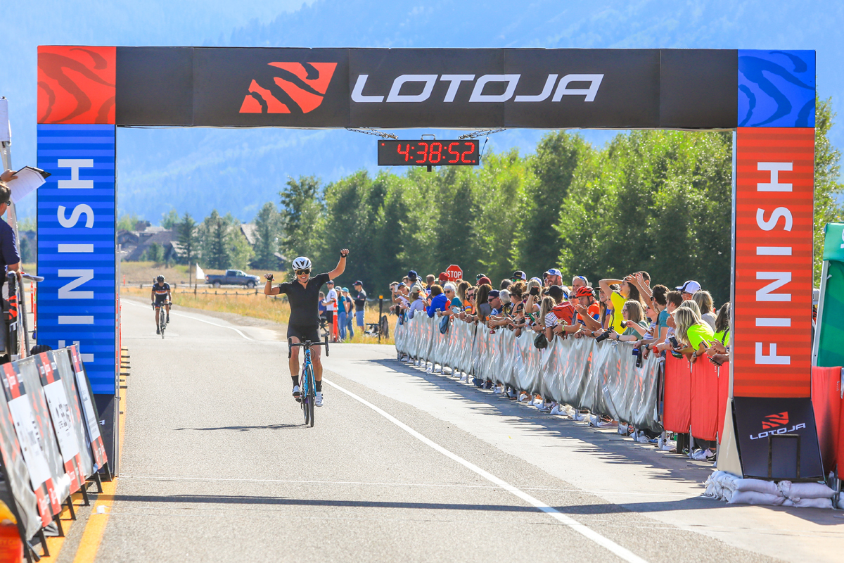 Alison Tetrick (Specialized) acknowledges the cheering crowd after winning the Women's Pro 123 race in the 37th Annual LoToJa Classic held on September 7, 2019. Tetrick finished the 202-mile course in 9:42:07. Photo courtesy of Snake River Photo