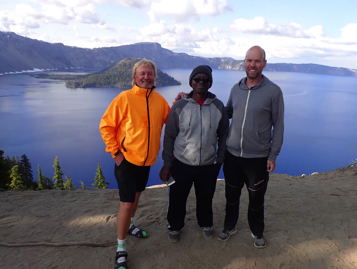 The Three Amigos end their trip at the top of Crater Lake. Photo by Roger and Jael Crandall