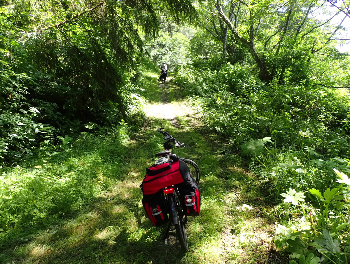 E-bikes going off road on the wide trail before it disappeared. Photo by Roger and Jael Crandall