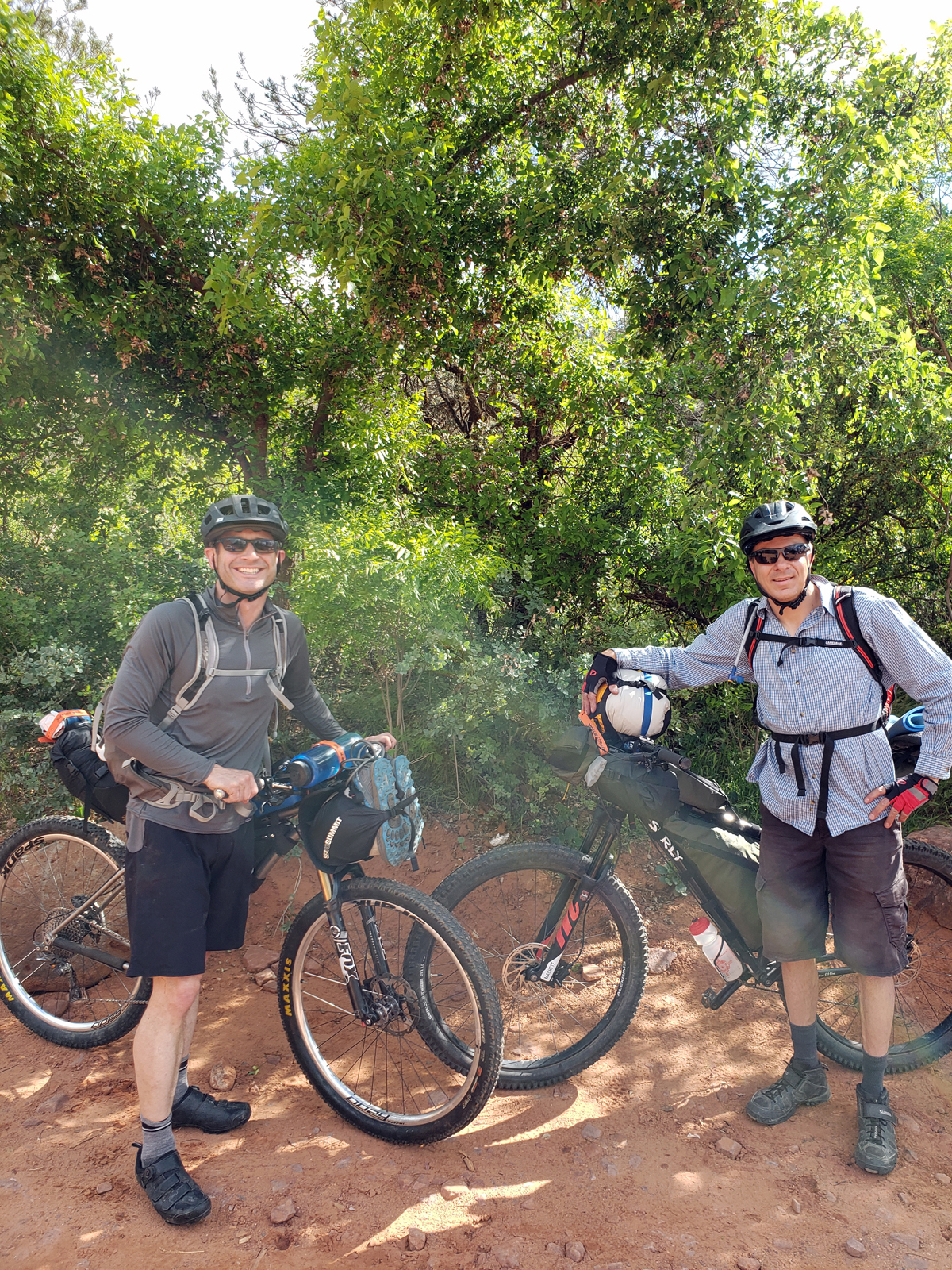 Patrick and Geoff - ready to ride, starting at the Broken Arrow Trailhead in Sedona. The trailhead is shared by hikers, bikers, motorcycles, and ATVs. On the Coconino Loop. Photo by Patrick Walsh