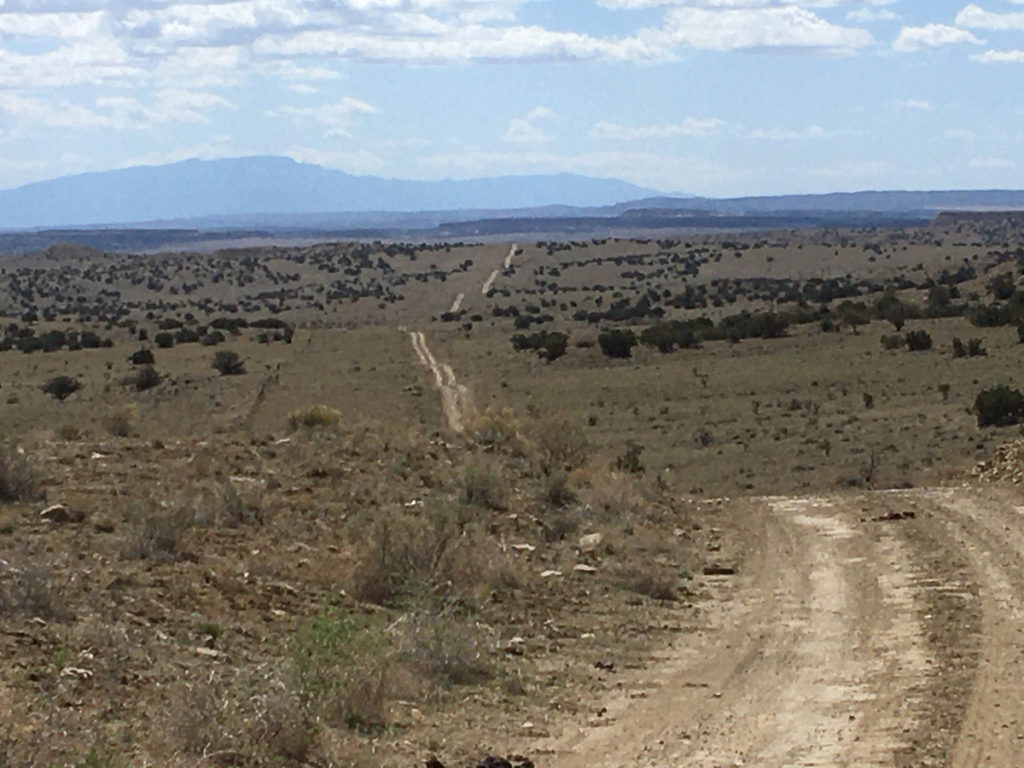 Pipeline Road with the Sandia Mountains on the horizon, on the Cabezon gravel ride. Photo by Don Scheese