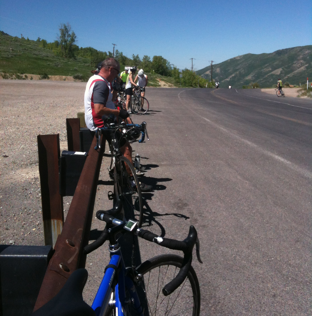 Cyclists congregate on the Little Mountain Summit at the top of Emigration Canyon. Emigration Canyon is the most popular recreational bike ride in Utah. Photo by Dave Iltis