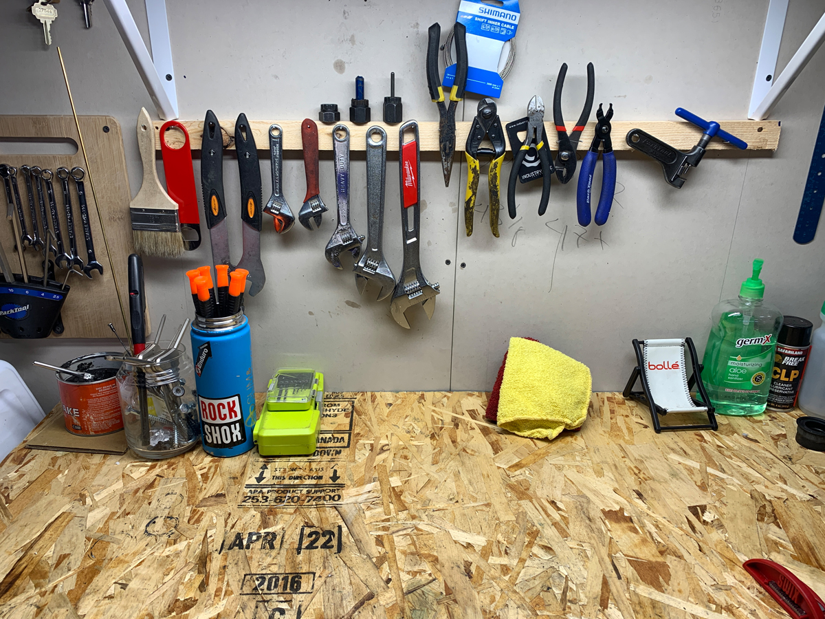 Keeping a clean workbench isn't just about presentation, it really helps you to make sure everything made it back on your bike! Photo by Eric Ramirez