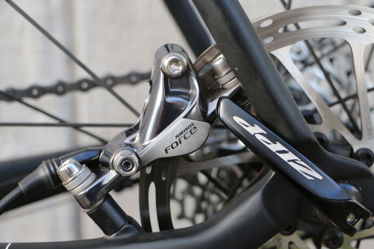 SRAM's Force Hydraulic Disc Brakes provide incredible stopping power.