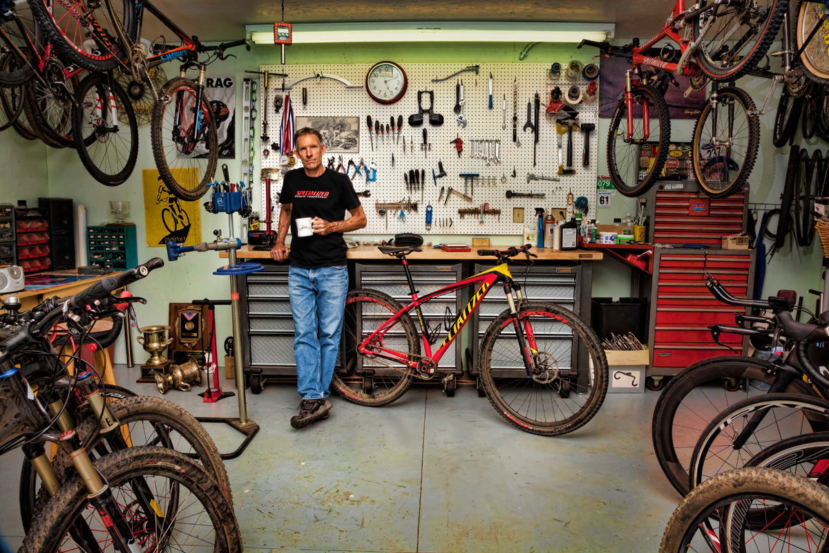 Ned Overend in his home workshop. Photo by Dan Escobar