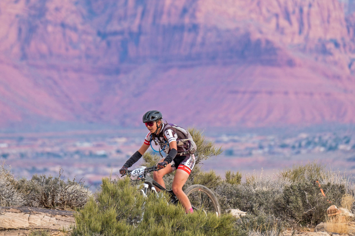 Larissa Connors on her way to winning the 100 Mile Women's Race at the 2018 True Grit Epic, held on March 10 in Santa Clara, Utah. Photo by Crawling Spider, find your photo at crawlingspider.com