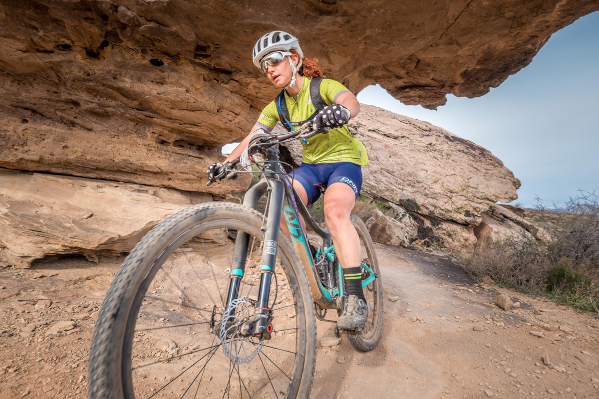 Sarah Kaufmann descends on Zen Trail in the 2018 True Grit Mountain Bike Race. Photo by Crawling Spider, find your photo at crawlingspider.com