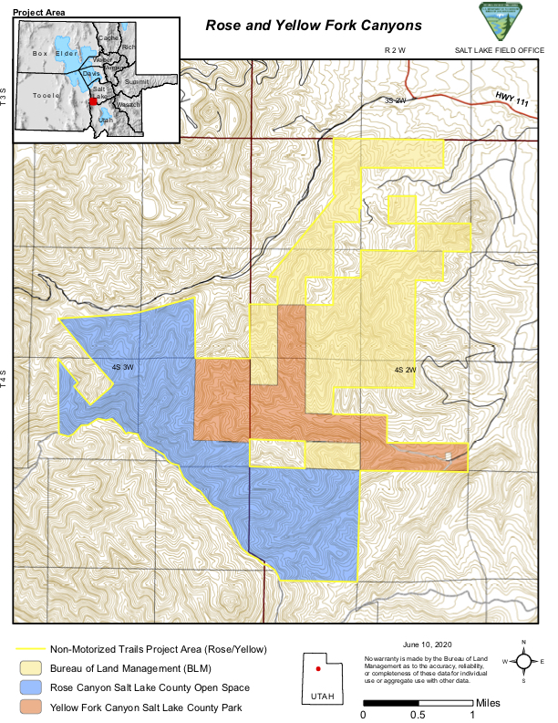 Map of the Rose and Yellow Fork Canyon areas where the BLM is proposing new mtb trails. Additional maps are on the project website.