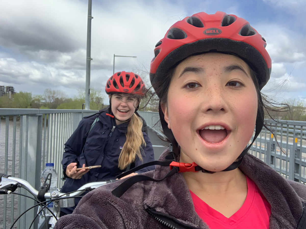 Chiara Kim (front) and a friend. Photo by Chiara Kim
