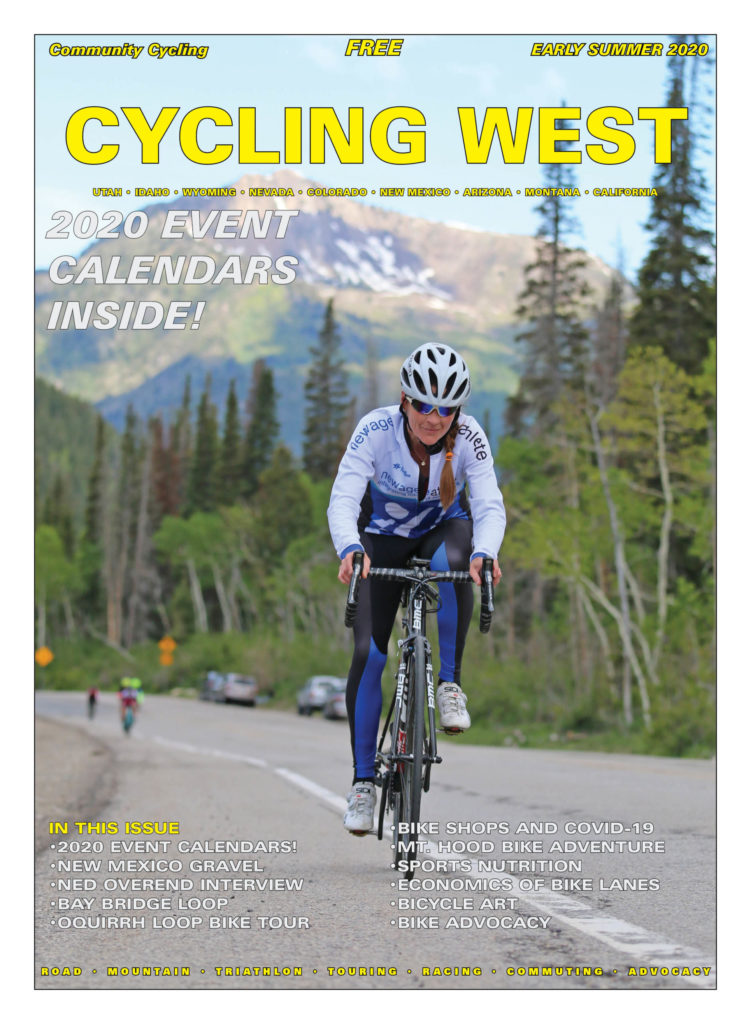 Cycling West June 2020 Cover Photo: Rachel Cieslewicz rides Big Cottonwood Canyon during the 2019 Porcupine Hill Climb. Unfortunately, the race was cancelled for 2020, but the canyon is open for cyclists. Photo by Dave Iltis