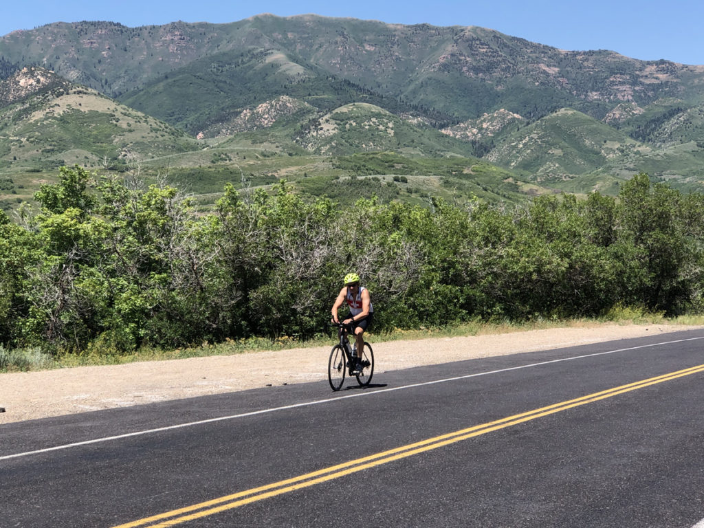 Emigration Township okayed 11' travel lanes, which allows for wider shoulders and bike lanes in the canyon. Here, a cyclist rides from Pinecrest to the Little Mountain Summit. Photo by Dave Iltis