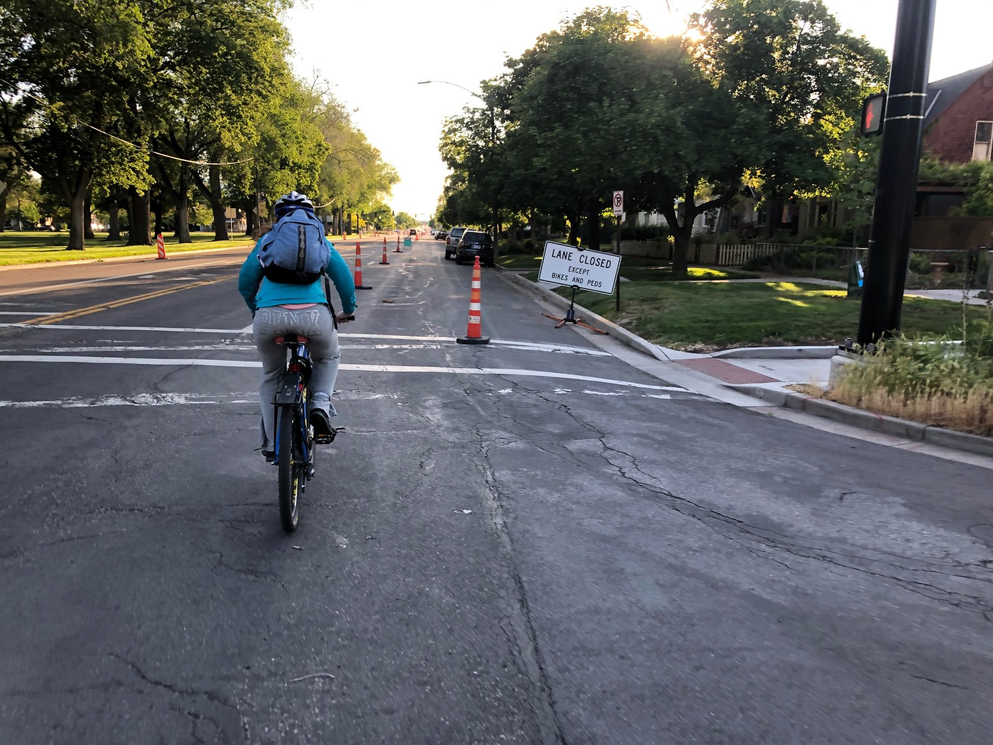 A cyclist on the now dismantled 900 S Safe Street closure. Photo by Dave Iltis