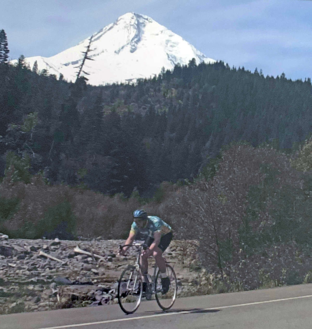 Joe Kurmaskie coming down from Barlow Pass to Hood River as part of the Summit To Surf Diabetes Association Charity Ride. Photo by Gail Davidson