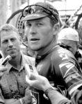 Lance Armstrong talking to media. Photo by Elizabeth Kreutz, courtesy ESPN