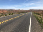 Typical highway and shoulder north of Vernal, Utah. Uintas Bike Tour scenes.