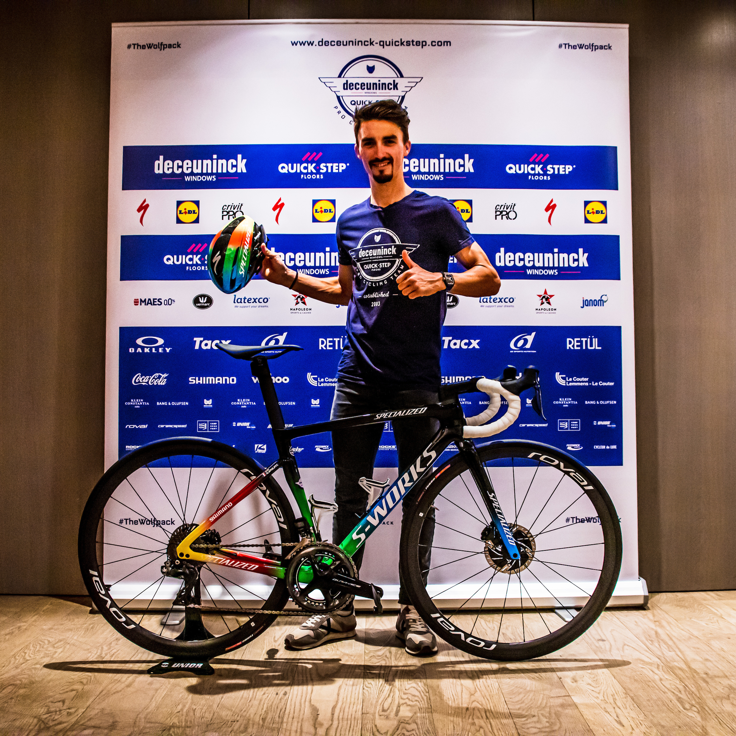 Everyone loves New Bike Day, especially World Champion Julian Alaphilippe. Photo by Wout Beel/Deceuninck - Quick-Step