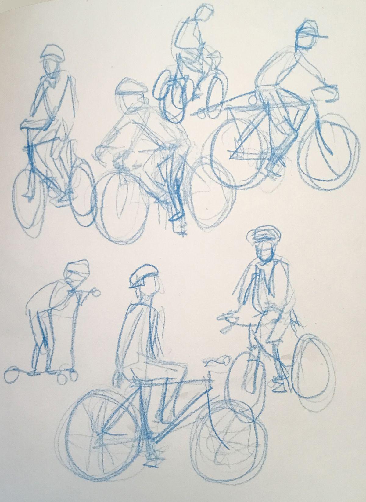 Artist: Anthony Ryan, Title: Golden Gate Park Rollers, Medium: pencil (sketchbook page)