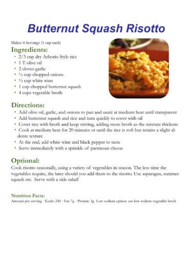 Butternut Squash Risotto recipe, courtesy Breanne Nalder-Harward