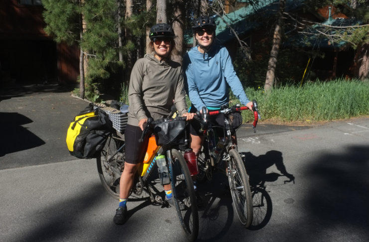 Rain Felkl (left) and Clara Hatcher prepare to start their bikepacking journey from Truckee, California, to Yosemite National Park. Photo by Clay James