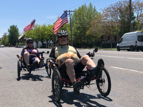 Jeff and Sandy Levenson on their recumbent bicycles. Photo by Dave Iltis