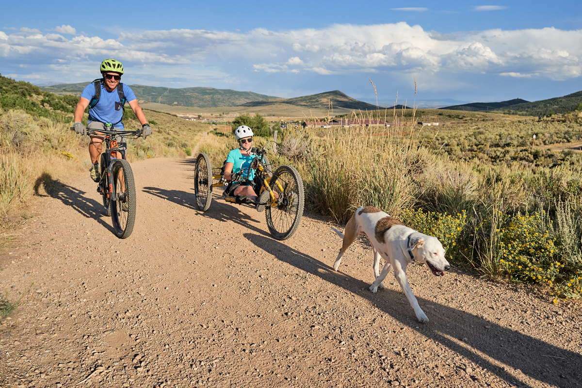 Adaptive mountain biking session on Round Valley trails, March 2019. Photo by Berin Klawiter