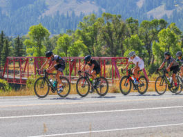 A peloton of women cyclists work apace line along the Snake River a few miles south of Hoback Junction, Wyoming, in the 38th annual LoToJa Classic on Sept. 12. A total of 41 licensed women cyclists ranging from Pro 123s to Women's Master 45+ Open competed in the race. Photo courtesy of Snake River Photo.