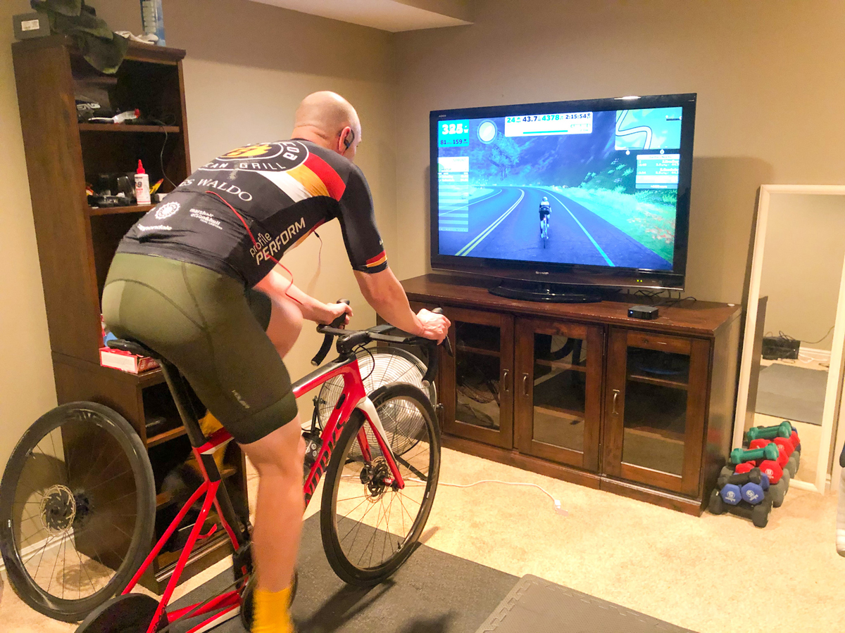 Doug Brower riding indoors. If some of your winter training becomes less specific, make your bike training more specific. Photo by Sarah Kaufmann