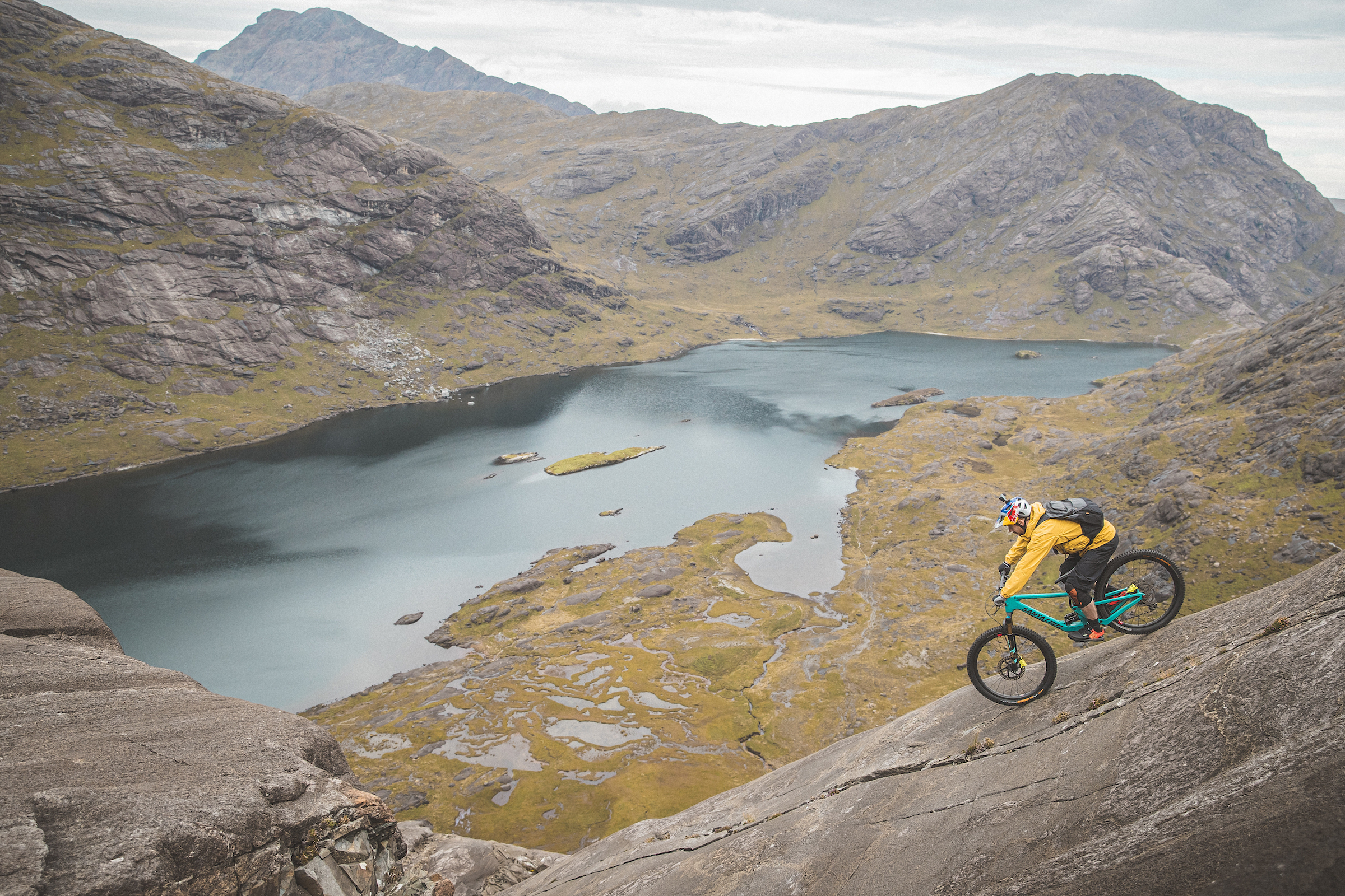 Danny MacAskill descending the Dubh Slabs on the Isle of Skye. Photo by Dave Mackison