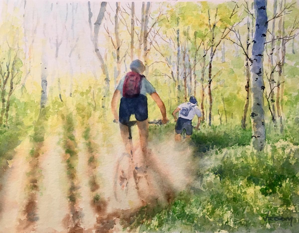 Mountain Biking in Park City Watercolor