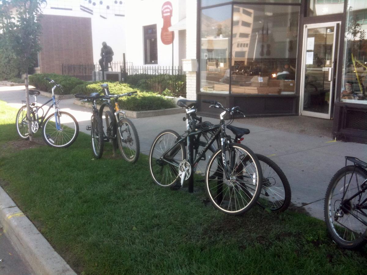 Bike Parking in front of the Peter Prier Violin Making School in Salt Lake City, Utah. Photo by Dave Iltis