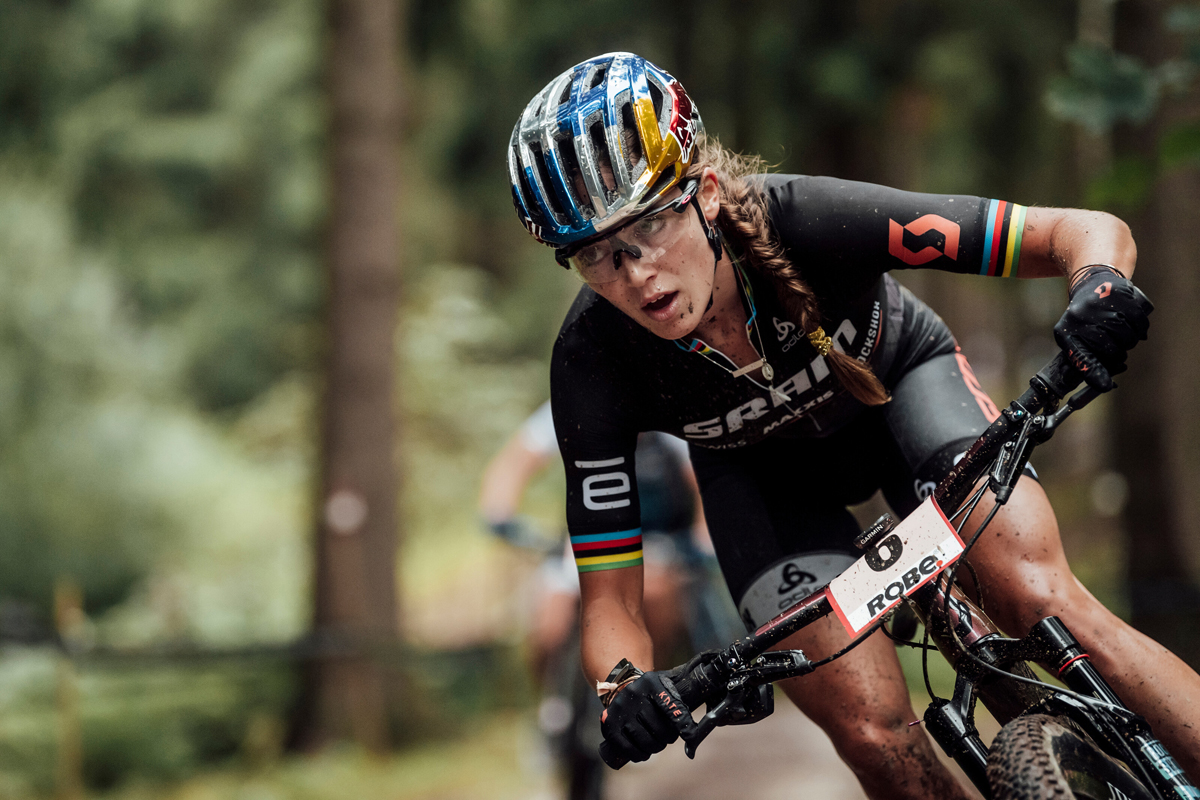 Kate Courtney racing in the UCI XCO in Nove Mesto na Morave, Czech Republic on October 4, 2020. Photo by Bartek Wolinski/Red Bull Content Pool