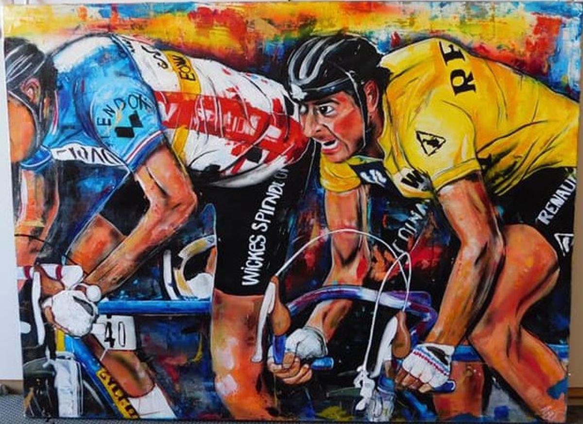 Artist: TJ Eisenhart Title: Final Sprint Size: 48X60 Medium: Oil, acrylic, airbrush on canvas