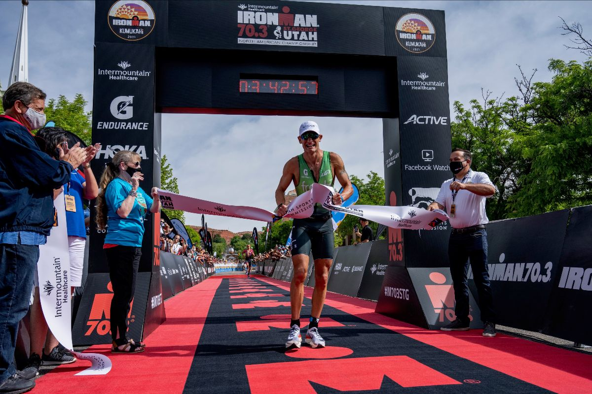 Lionel Sanders (CAN) claims victory at the 2021 Intermountain Healthcare IRONMAN 70.3 North American Championship in St. George, Utah. Photo courtesy IRONMAN