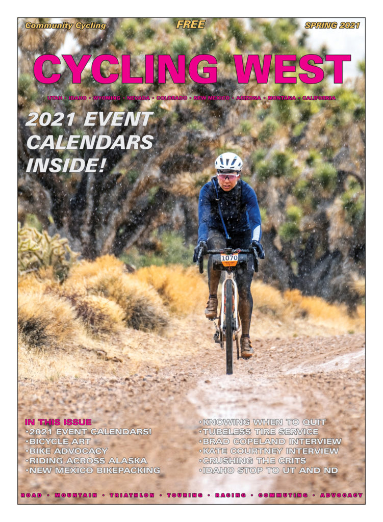 Cycling West Spring 2021 Cover Photo: Shayna Powless of Team TWENTY24 on her way to the women's win in the 2021 True Grit Gravel race held on March 12. Find her on Instagram: @shaynapowless Photo by Dan Amodt, True Grit Epic