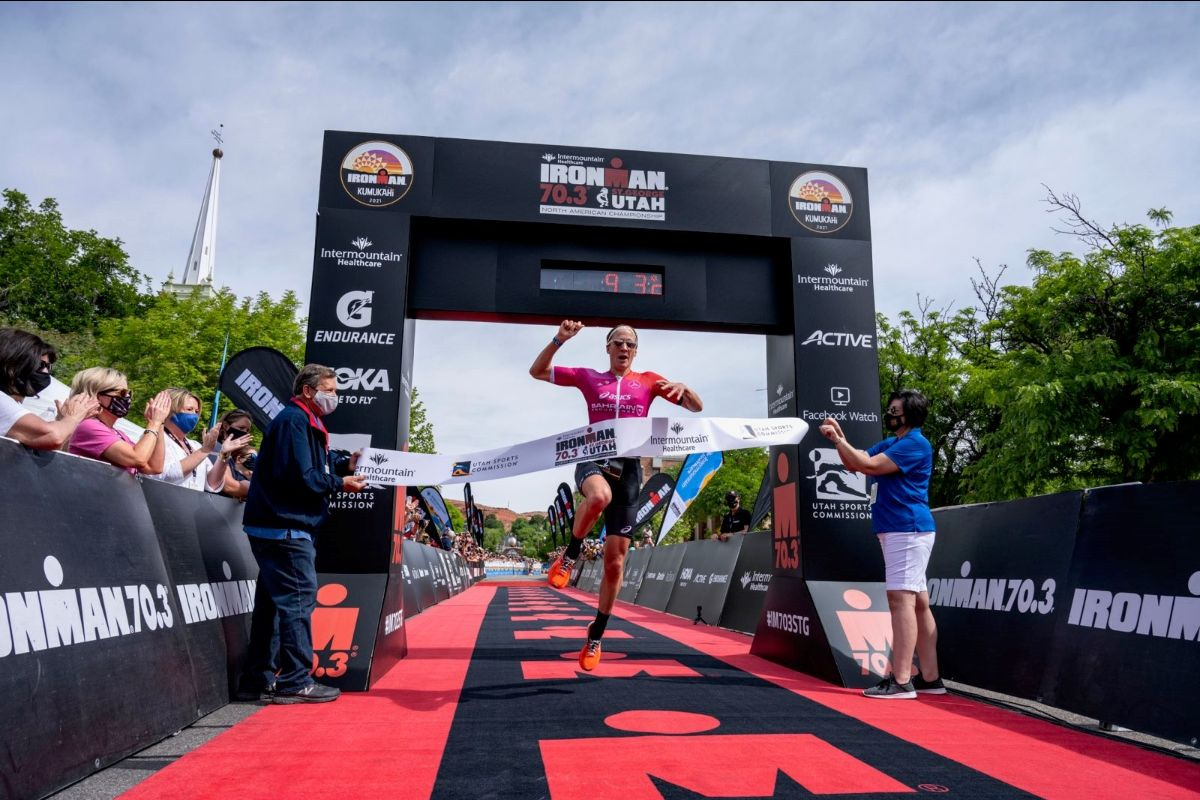 Daniela Ryf (CHE) claims victory at the 2021 Intermountain Healthcare IRONMAN 70.3 North American Championship in St. George, Utah. Photo courtesy IRONMAN