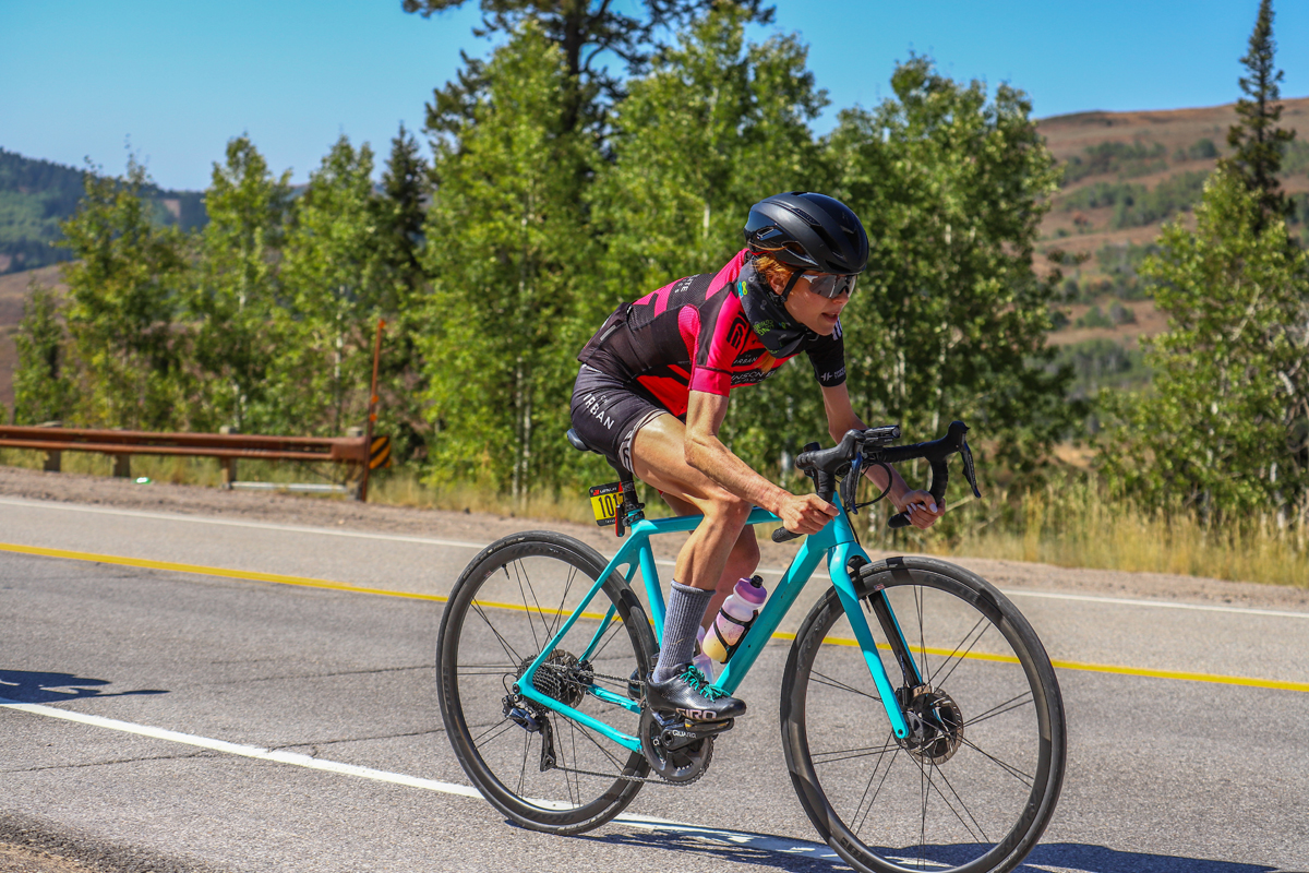 Amy Heaton on course in the 2020 Lotoja. Photo by SnakeRiverPhoto.com
