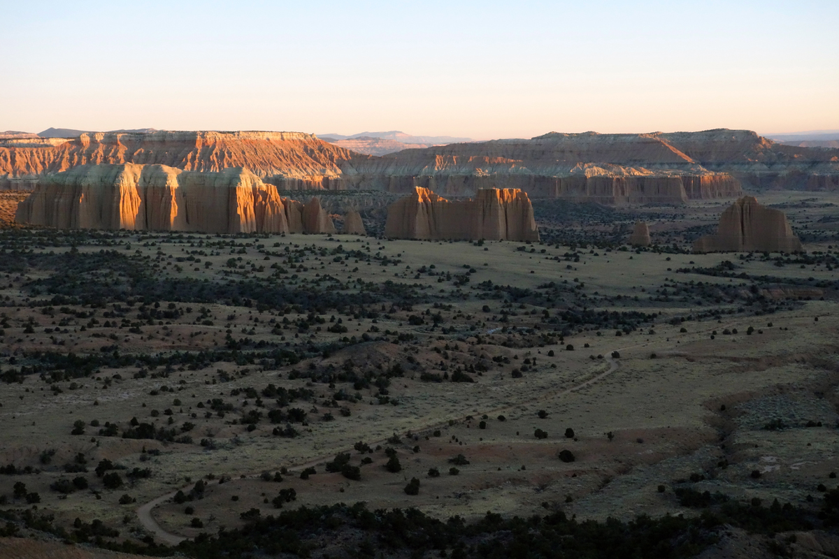 Upper Cathedral Valley at dawn. Photo by Jill Homer