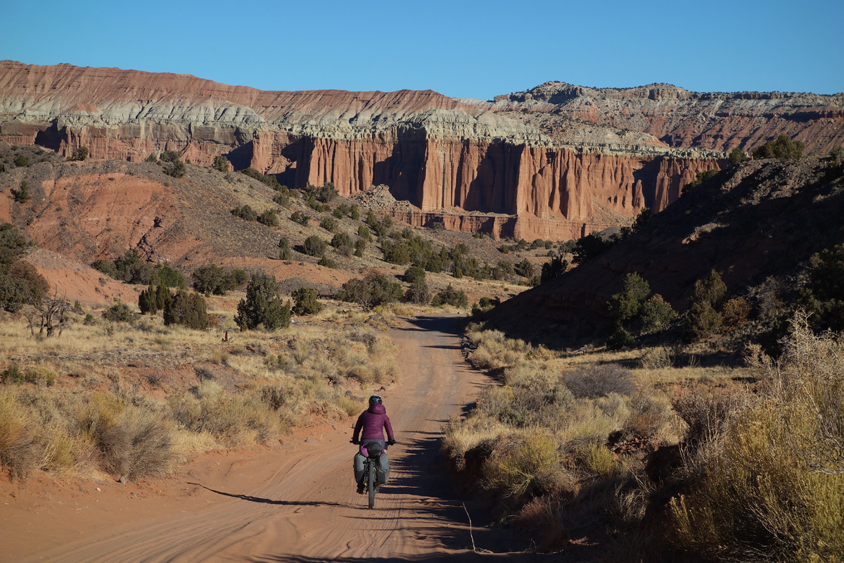 Danni descends into Cathedral Valley. Photo by Jill Homer