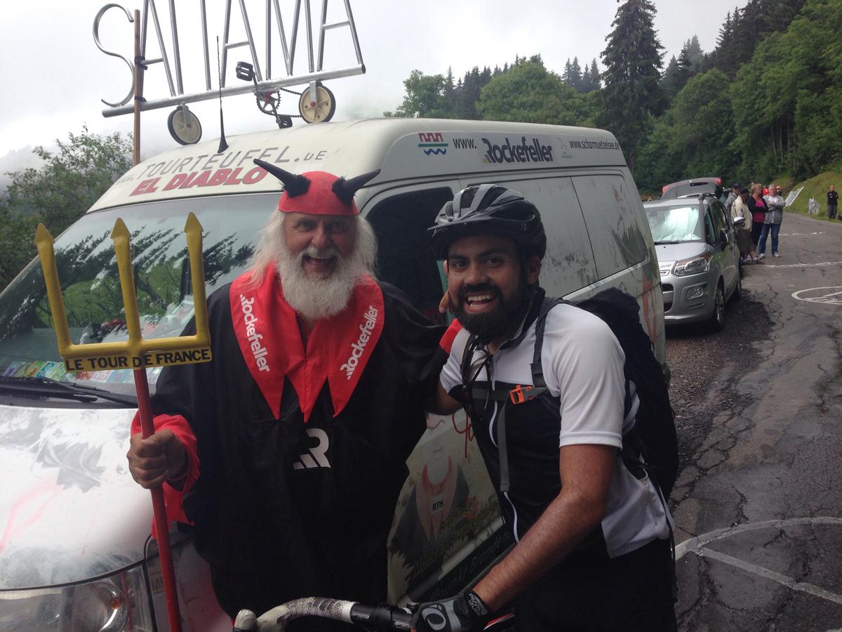 El Diablo and Enrique at the 2016 Tour de France. Photo courtesy Enrique Arce-Larreta