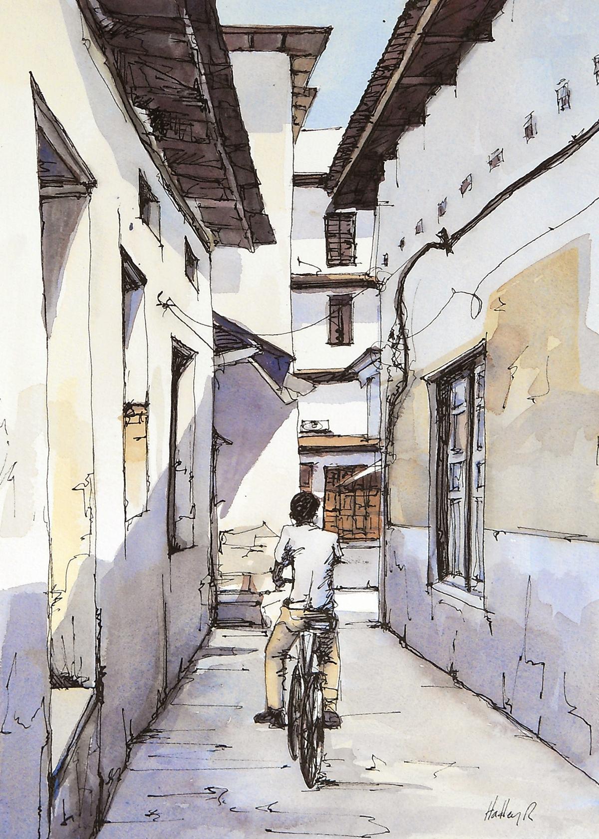 Artist: Hadley Rampton,Title: Pedaling Through Stone Town, Zanzibar.Medium: watercolor & ink,Size: 14 X 10 inches