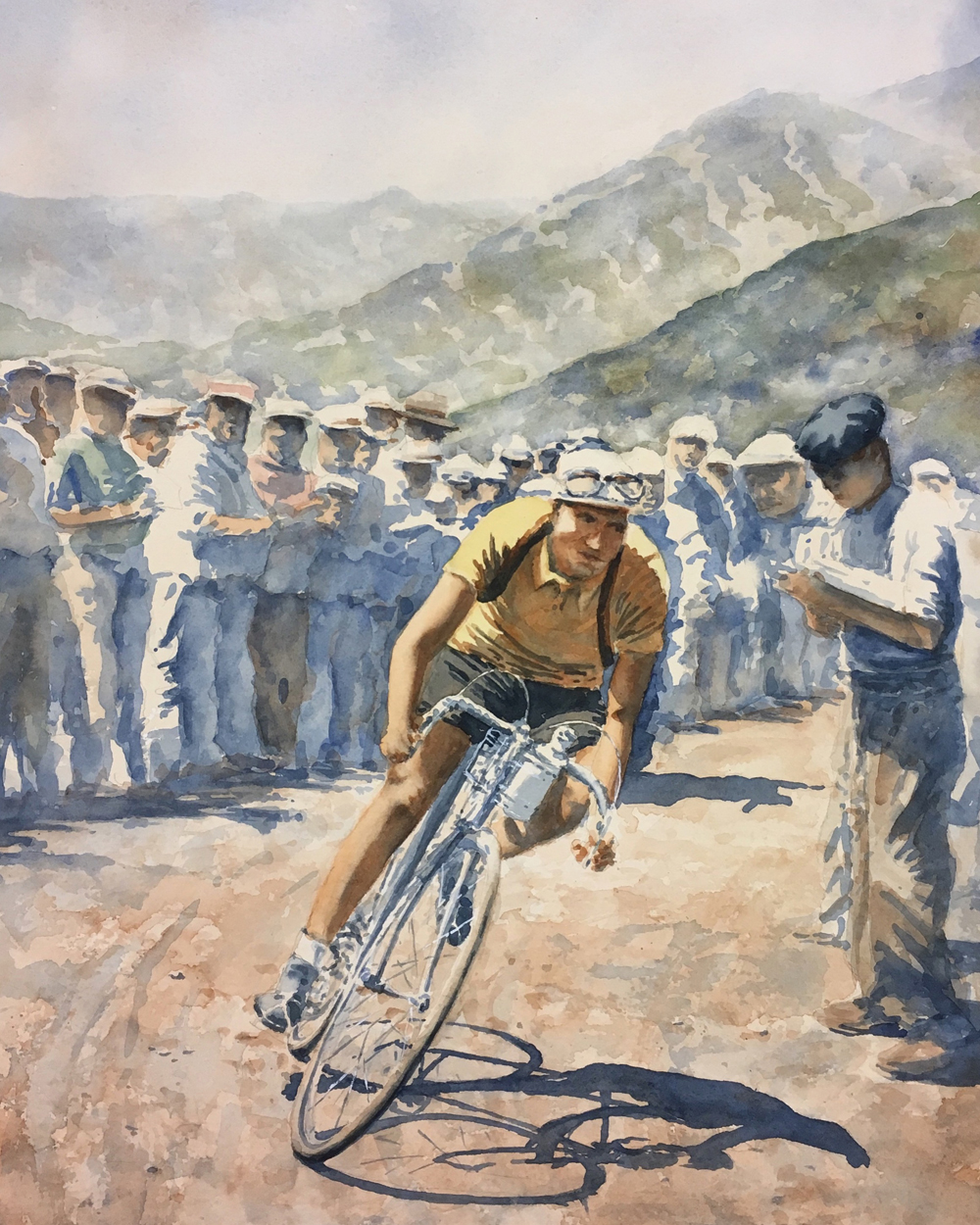 Title: Gino Bartali - 1938 Tour de France Medium: Watercolor on paper.
