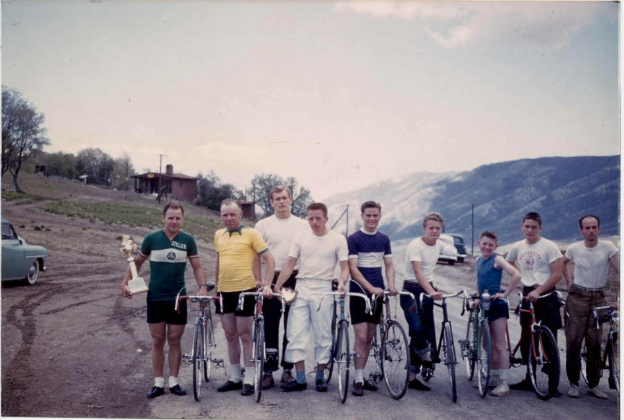 Contestants line up for the Little Mountain Road Race, circa 1952, when it was a handicap race. It was Jan Hyde's first race which he won. From left, Alvin Stiller, a professional from Chicago, Wendell Rollins, member of the 1948 Olympic pursuit team, Vaughn Angel, killed in Viet Nam and for years was remembered by the Vaughn Angel race, Raymond Youngberg, Bill Young, Jan Hyde, unidentified rider, Rob Russon, childhood friend of Hyde, and Paul DeBuzek.